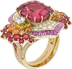Van Cleef & Arpels Seven Seas: Arabian Sea Theyyam Ring with yellow and pink gold, round diamonds, round yellow sapphire and spessartite garnet gradation, round rubies, baguette-cut pink sapphires and one cushion-cut rubellite of carats. Van Cleef Arpels, Van Cleef And Arpels Jewelry, High Jewelry, Jewelry Rings, Pear Shaped Diamond, Pink Sapphire, White Gold Rings, Beautiful Rings, Ideias Fashion