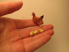 Linda's Custom order - Dollhouse miniature hen and chicks in 1:12 scale