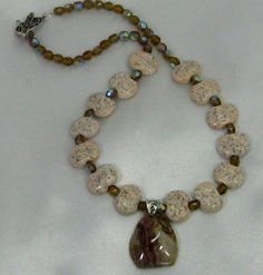 Caprice Kazuri Bead Necklace with Agate Pendant