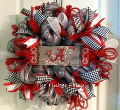 Your place to buy and sell all things handmade Alabama Football Wreath, Alabama Wreaths, Deco Mesh Wreaths, Burlap Wreaths, Alabama Crafts, Diy Wreath, Wreath Ideas, School Wreaths, Sports Wreaths