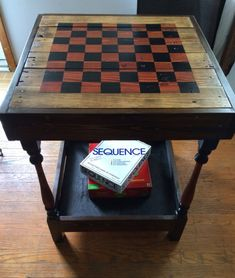 Reclaimed wood side table with checkerboard by TheeLittleBirds, $75.00