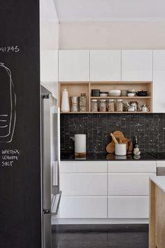 White Kitchen, black floors, black tile/granite countertop/backsplash, chalkboard, light wood...clean, simple & modern