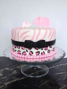 Pink Safari Baby Shower Cake - by Mari's Boutique Cakes
