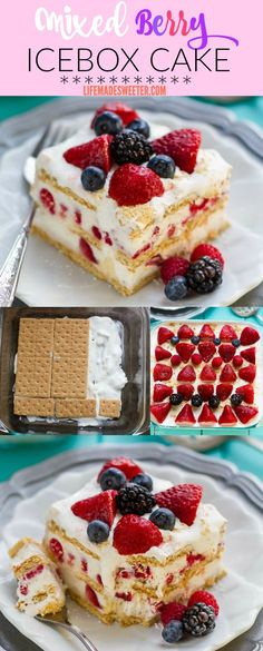 No Bake Mixed Berry Icebox Cake makes the perfect easy summer dessert. No Bake Mixed Berry Icebox Cake makes the perfect easy summer dessert. Easy Summer Desserts, 4th Of July Desserts, Easy No Bake Desserts, Köstliche Desserts, Frozen Desserts, Holiday Desserts, Holiday Recipes, Delicious Desserts, Dessert Recipes