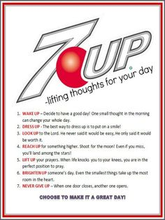 {FREE PRINTABLE} 7 UP-lifting thoughts! Combine it with a can of 7-Up and give it to others to brighten their day! Genius! Bakerette.com