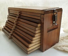 Antique wood box with trays. Beautiful! I would fill this with all my important papers and art work.
