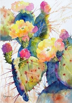 CACTUS CHEER by Mary Shepard Watercolor ~ image size: 14 x 10 unframed art garden indoor plants Cactus Painting, Watercolor Cactus, Cactus Art, Watercolour Painting, Painting & Drawing, Watercolors, Cactus Plants, Watercolor Succulents, Cactus Decor
