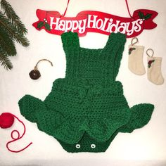 Perfect for holiday photos and cold weather. Baby Rompers, Ruffle Romper, Holiday Photos, Cold Weather, Happy Holidays, Etsy Store, Handmade Items, Babies, Christmas Ornaments
