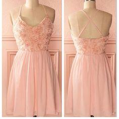2016 peach pink spaghetti strap simple mini freshman homecoming prom bridesmaid dress,BD0074
