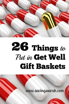 Do you have loved ones//friends who are ill or recovering from surgery? Get Well Gift Baskets are great ways to cheer them up and show them how much you care. Here are 26 Great Items to fill the gift baskets.