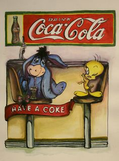 A happy hour coke with Eeyore. Coca Cola Poster, Coca Cola Drink, Cola Drinks, Coca Cola Ad, Always Coca Cola, World Of Coca Cola, Coca Cola Decor, Coca Cola Kitchen, Sodas