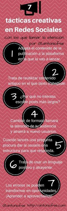 Hola: Una infografía con 7 tácticas creativas en Redes Sociales. Vía Un saludo 7 tácticas creativas en Redes Sociales Archivado en: Infografía, Redes Sociales, Sociedad de la información Tagged: Inf