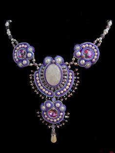 Bead Embroidery Necklace Soutache Purple silver Bead Embroidered Swarovski. $165.00, via Etsy.