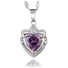 AAA 100% Silver 925 Necklace Lovely Heart Amethyst Water Drop Sterling Silver Necklaces & Pendants FREE SHIPPING