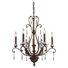 Cast a warm glow in your entryway or dining room with this eye-catching chandelier, showcasing 6 lights and a burnt bronze finish.  ...