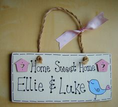 PERSONALISED house warming gift shabby chic HOME SWEET HOME wall plaque sign