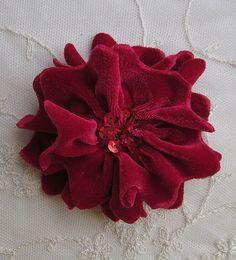 RED Velvet Ribbon Rose Fabric Sequin Beaded by delightfuldesigner