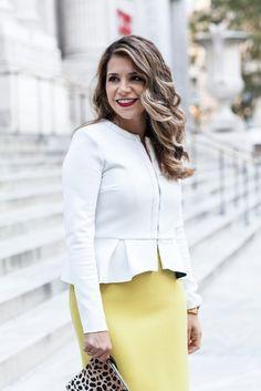 What to Wear to Work | Yellow Skirt + Peplum Blazer