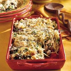 Indulge in a creamy casserole packed with fresh and frozen veggies, chopped turkey, and thin spaghetti. The recipe calls for store-bought Alfredo sauce, cutting preparation time down almost nothing.