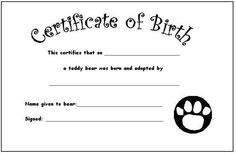 teddy certificate for build a bear
