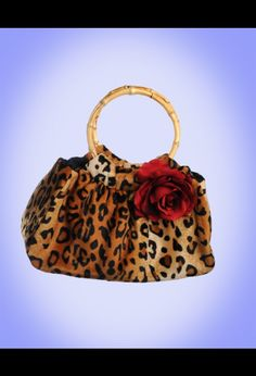 Cheetah Purse - Mis Cositas Cheetah Print Tote with Red Rose Detail