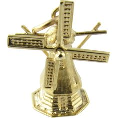 Vintage 14 Karat Yellow Gold Windmill Charm