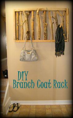 DIY Pallet & Branch Coat Rack