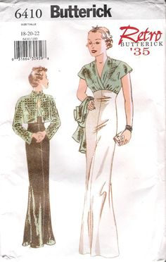 1930s Inspired  Evening Gown and Bolero Sewing Pattern, Butterick 6410 sizes 6, 8, 10 uncut on Etsy, $20.00