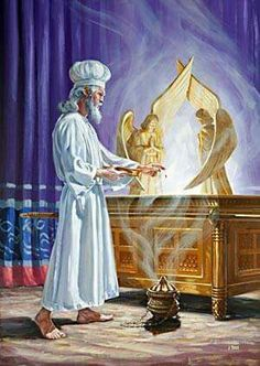 Day of atonement (Yom kippur) when the High Priest sprinkles blood before the mercy seat of the ark of the covenant in the Holy of Holies (the Most Holy place) of th tabernacle Jesus Art, Jesus Christ, Bible Art, Bible Scriptures, Arte Judaica, Religion, Bible Illustrations, Bible Pictures, Prophetic Art