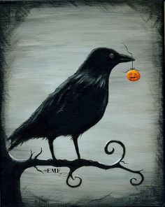Items similar to Halloween art, quot;Crow s Treasure quot; digital art print on Etsy Halloween Kunst, Halloween Painting, Halloween Tags, Holidays Halloween, Halloween Crafts, Halloween Decorations, Halloween 2019, Halloween Canvas Paintings, Samhain Decorations