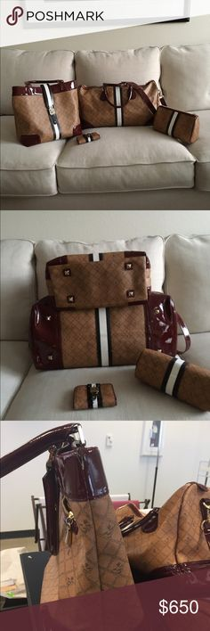 L.A.M.B. Travel set LAMB travel set, duffle bag and cosmetic bag in great condition, third picture shows tear on side of the tote and last picture shows the inside of the wallet. Stripes on tote and wallet need to be repainted. Additional pictures upside request. NO TRADES L.A.M.B. Bags