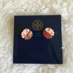 Tory Burch Dipped Logo Stud Earrings Tory Burch Dipped Logo Stud Earrings half rosegold and half pink dipped. I'm in love with these gorgeous earrings! PRICE FIRM in love with these! Tory Burch Jewelry Earrings