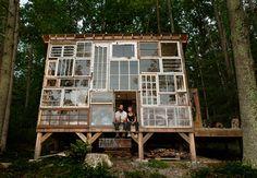 Een tuinkamer maken van oude ramen / www.woonblog.be