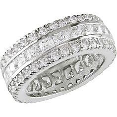 9 CT. TW Square and Round CZ Wide Eternity Band in Sterling Silver