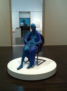 Blue Woman in a Black Chair by George Segal at the Blanton Art Museum