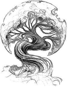 38 Ideas Tattoo Tree Of Life Igdrasil Tree Sketches, Tattoo Sketches, Tattoo Drawings, Art Drawings, Drawing Art, Drawing Sketches, Tattoo P, Deer Tattoo, Raven Tattoo