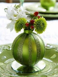 Green Pinterest Christmas Ideas and Crafts for Table Decoration