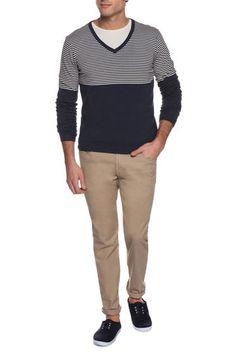 Pullover bicolore, Blu/Grigio