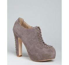 Pour la Victoire dark grey suede 'Agalia' lace-up platform booties   BLUEFLY up to 70% off designer brands