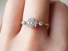 Art Deco Diamond Daisy Ring, Antique Diamond Platinum and 18k Gold Ring