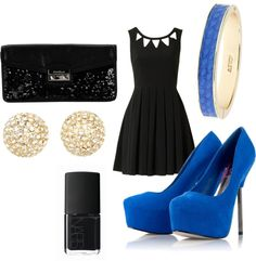 """Black and blue date night"" by mollylsanders on Polyvore"