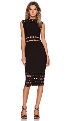 MILLY Open Inset Dress in Black
