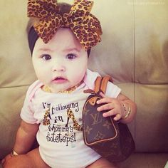 Designer baby swag baby clothes onesie cool kid fashion leopard big bow Louis Vuitton purse