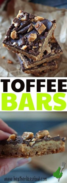This homemade toffee bar recipe is easy and just PERFECT! They come complete with a shortbread crust, sweetened condensed milk center, and heath bar topping-- perfect for your Christmas Cookie Plates! via @heatherlikesfood