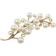 Mikimoto 14k Yellow Gold Akoya Pearl Flower Sprig Branch Pin Brooch
