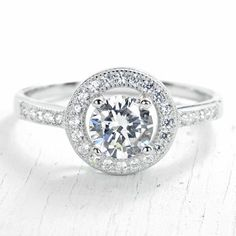 ApplesofGold.com - Halo Zirconia Engagement Ring in Sterling Silver, $49!