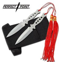 Red tassels adorn this stainless steel two piece throwing knife set. overall length, includes nylon sheath with forearm strap Throwing Cards, Kunai Knife, Make A Man, How To Make, Knife Throwing, Flame Design, Ninja Star, Ninja Weapons, Types Of Knives