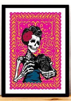 Skeleton Art Print Day of the Dead Camera Poster