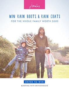 Enter for a chance to win $500 in rain boots and rain coats from Joules!  http://woobox.com/ba9thb/irgafj