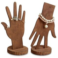 Crafts Projects Wooden Hand Displays for Rings and Bracelets, Brown, Set of 3 Diy Wood Projects, Woodworking Projects, Home Crafts, Diy And Crafts, Bracelet Storage, Craft Show Displays, Cardboard Crafts, Wooden Crafts, Wooden Hand